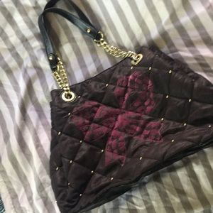 Rare Large Betsey Johnson Purple Bow Bag